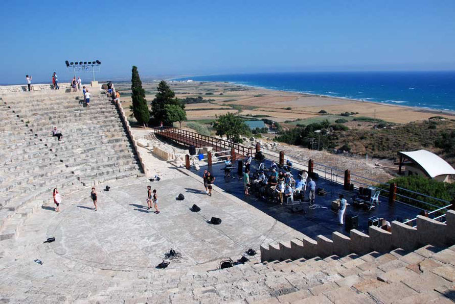 Andrea Morelli's  Rat Pack Show and dancers rehearse in the Roman amphitheatre at Kourion
