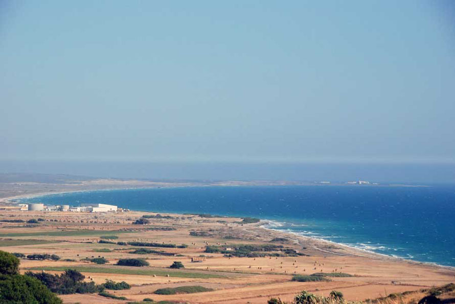 View from Kourion to the east towards the Akrotiri Sovereign Base Area on right horizon with recently completed desalination plant (the sixth on the island) in the middle distance