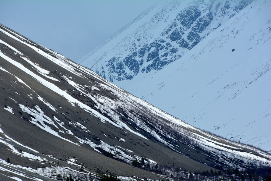 The forebidding bare, till-covered slopes of Sultinden in the Lyngen Alps with melting snow cover in mid April.