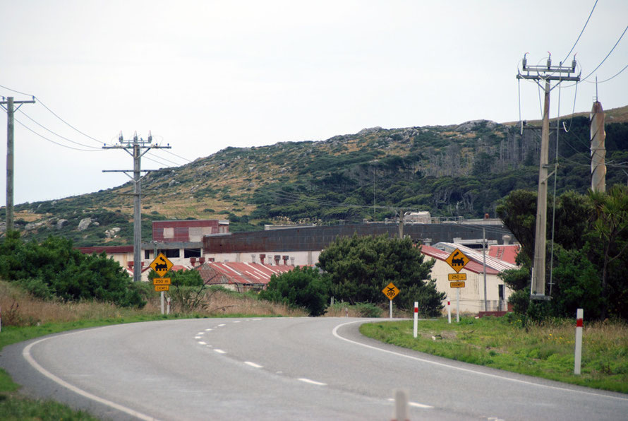 The Ocean Beach Freezing Works on the outskirts of Bluff. Closed in 1991 it has had a major impact on the town's declining population Bluff, Southland, NZ.