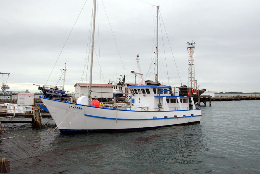 The Takaroa, tied up at Bluff Harbour. Bill and Lyn Ayto run adventure cruises to Stewart Island and Fiordland.
