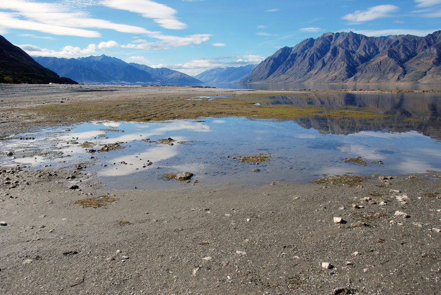 Lake Hawea at low water - a dam was built to raise the lake level 18m to supply the 1958 Roxburgh Hydro schemee