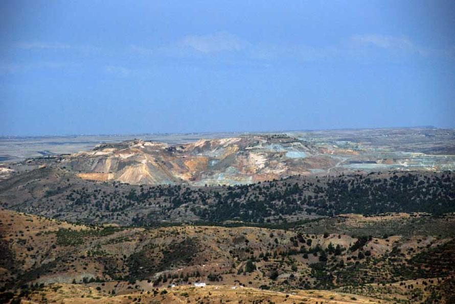 And the distant Skouriotissa Copper Mine, symbol of the island's past - kupros, cyprium aes, copper.