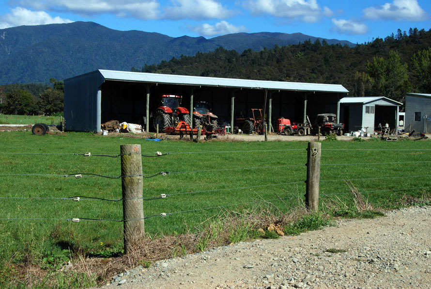 Farm machinery shed on Waitapu Wharf Road, Golden Bay