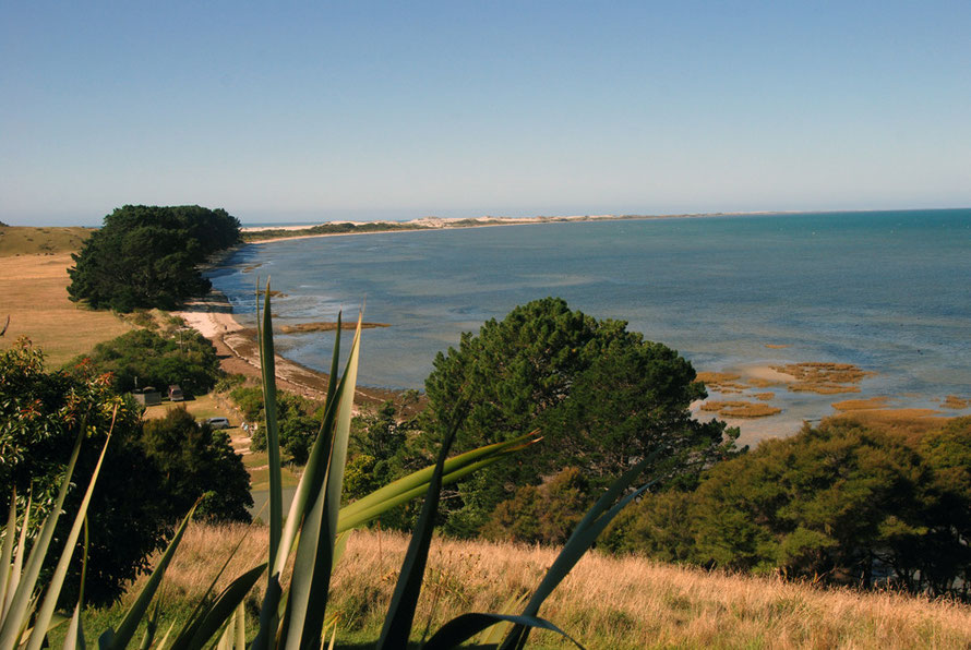 The view from the cafe above Farewell Spit which stretches 34km into Golden Bay