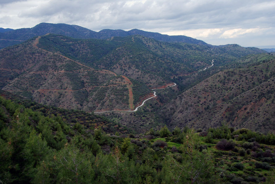 Looking across the Xeros Valley from the east with the road to Kato Pyrgos snaking away to the west in January 2013
