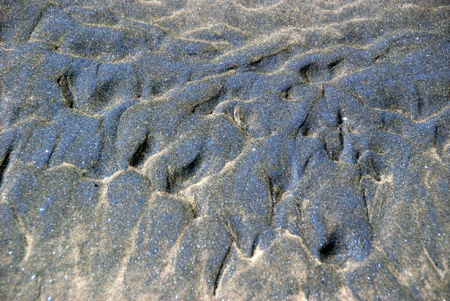 Patterns in the black sand at Te Henga (Bethells Beach). The sand contains black titanomagnetite derived from the volcanic rocks of Taranaki far to the south and carried north over thousands of years by coastal currents