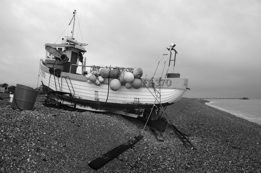 Coptic - FE 370 - (side view) at her shingle berth at Deal, Kent. Monchrome with added contrast, sharpness and brightness.