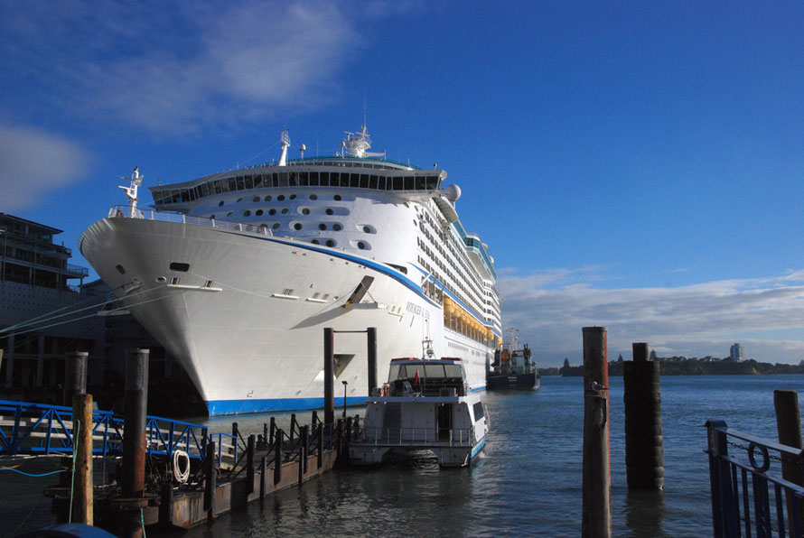 The Voyager of the Seas cruise ship tied up at the Auckland waterfront in March 2014.