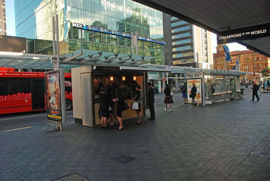 Coffee stand at the waterfront end of Queen Street in Auckland's CBD.