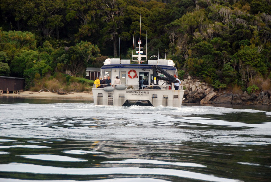 The Southern Express ferry docking at Ulva, Stewart Island, NZ.
