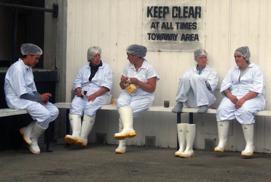 Lobster processors on a break at the Ngai Tahu Seafoods plant at Bluff