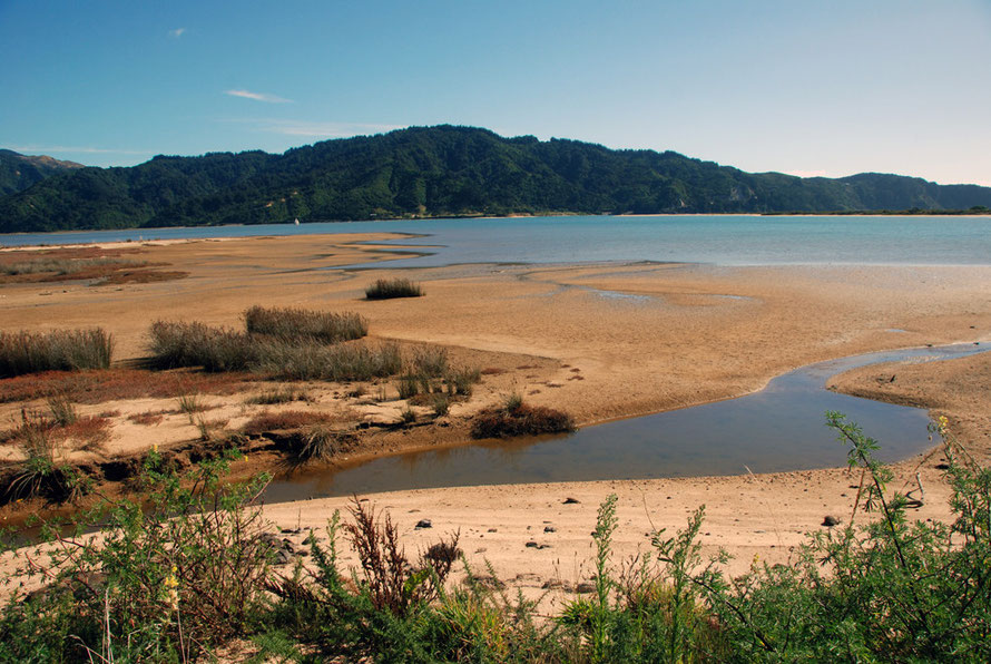 The sandflats of Takapou Bay on the Taupo Head walk, Golden Bay.