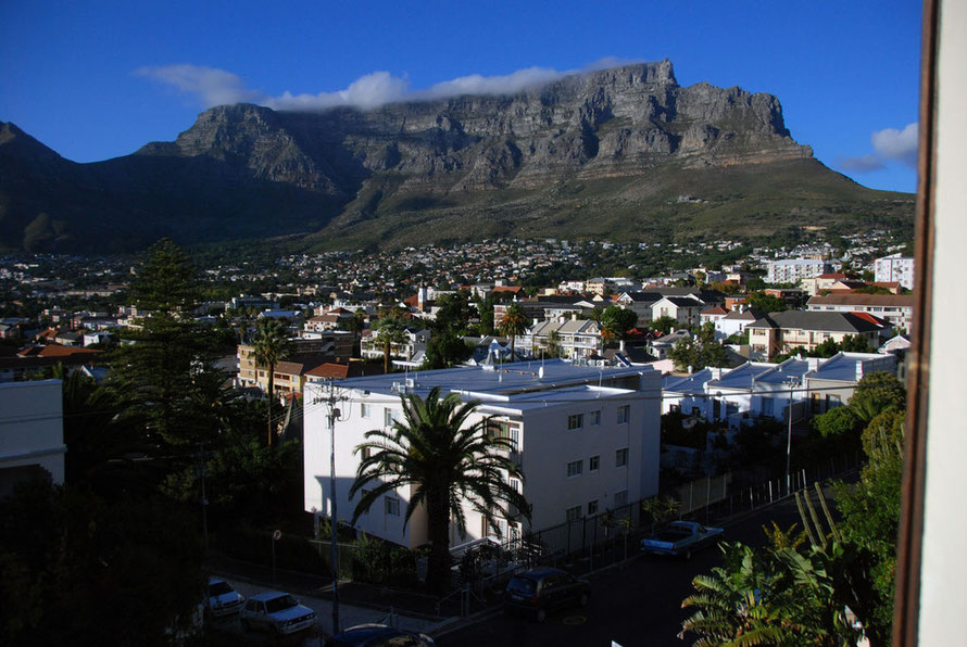 Table Mountain in the early morning from our guesthouse in Tamboerskloof, Cape Town