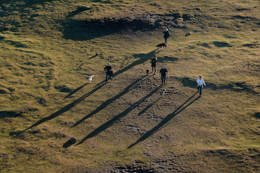 Long shadows from Arthur's Seat.