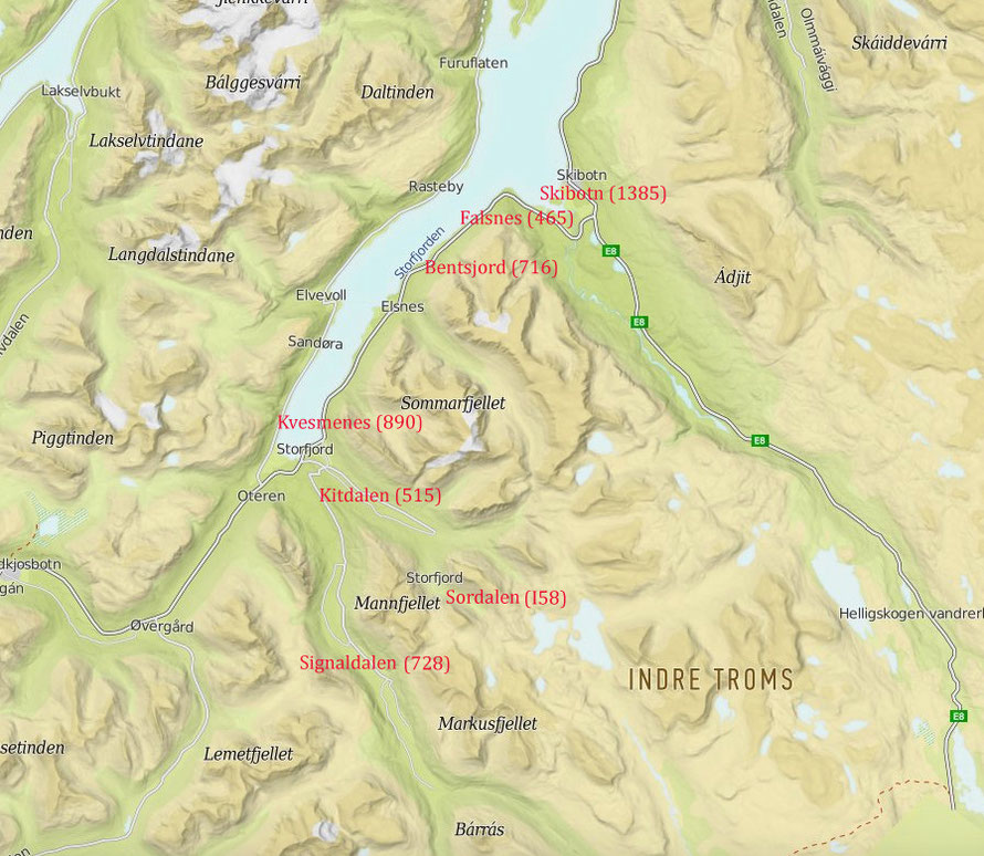 Main Lyngen Line PoW camp locations with prisoner numbers 1944-5 (from Nordlys 14.04.2012 above - Turkart -UT.no map).