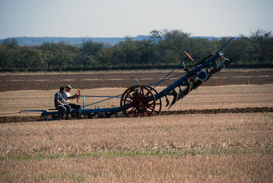 Steam-powered, cable drawn, two-way plough: East Kent Ploughing Match 2011