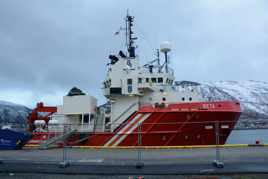The Beta tug/supply vessel tied up at Tromsø harbour (1751 gross tonnage).
