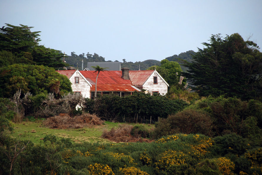Colonial style red tin roofed house at the foot of Ackers Point, Stewart Island.