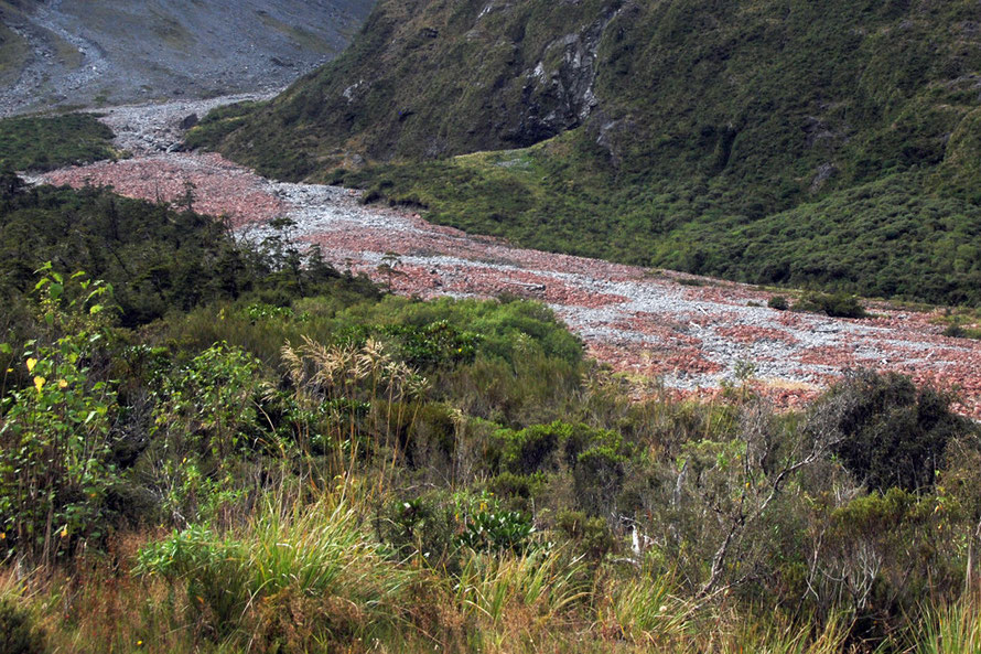 The outwash and pink/red-stained debris in the Hollyford riverbed on the approach to the Homer Tunnel on the Milford Road.