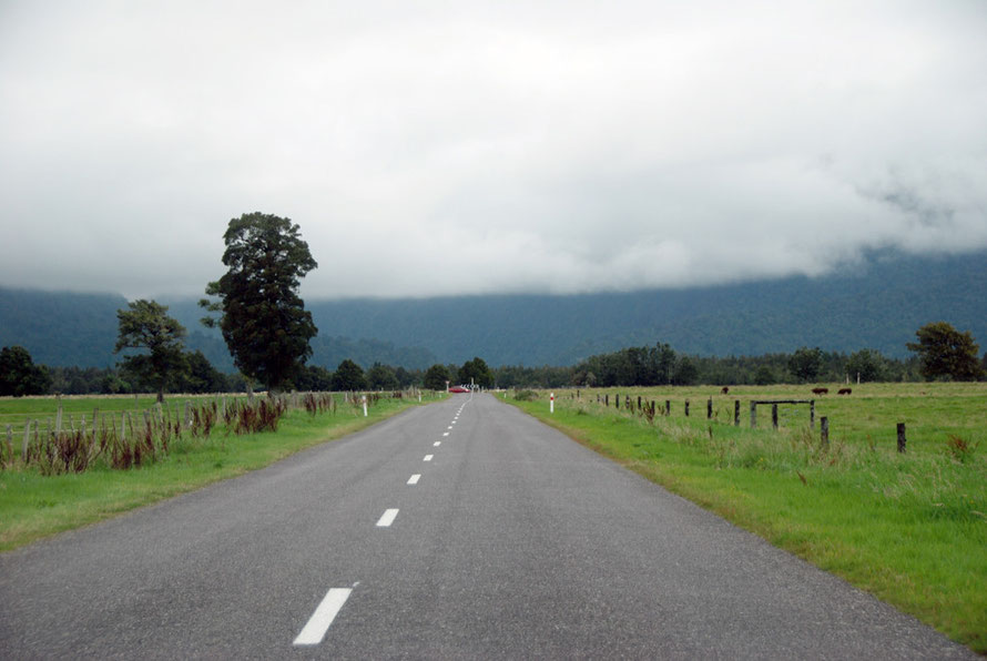 The magic gone as the clouds press down on the road from Gillespie's Beach to Fox Glacier Village