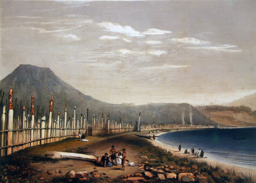 George French Angas (1822-1886) Te Henheu's [sic] Old Pah of Waitahanui at Taupo Lale (1840s) Hancoloured lithograph from a series of 400 watercolour sketches that are an important document of Maori l
