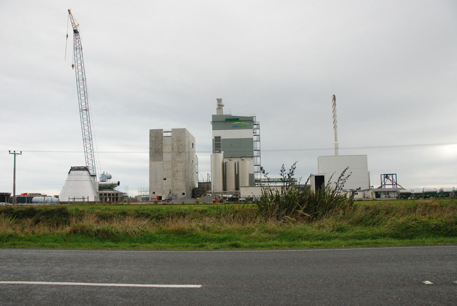 New milk-drying plant under construction on the Invercargill-Bluff road, Southland NZ.