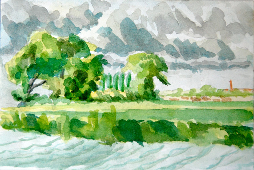 Port Meadow Poplar Study II, Oxford  (1980) (Watercolour and Pencil) Fergus Murray