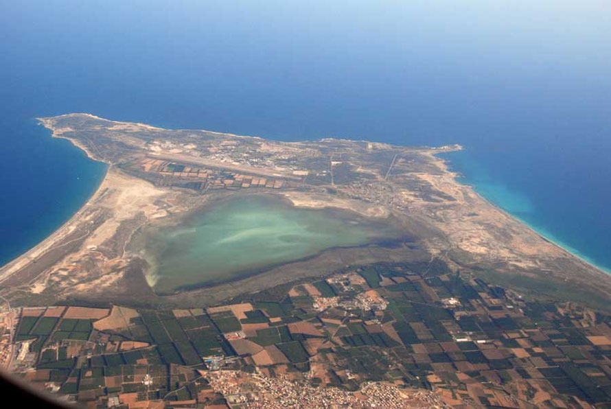 Looking toward the Akrotiri Sovereign Base Area from the air