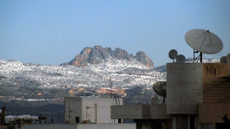 The five-knuckled Pentadaktylos dusted with snow from Nicosia's southern suburbs, early January 2013