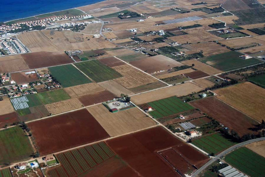 Intensive agriculture on the coastal strip near Larnaca requires irrigation from scarce water supplies