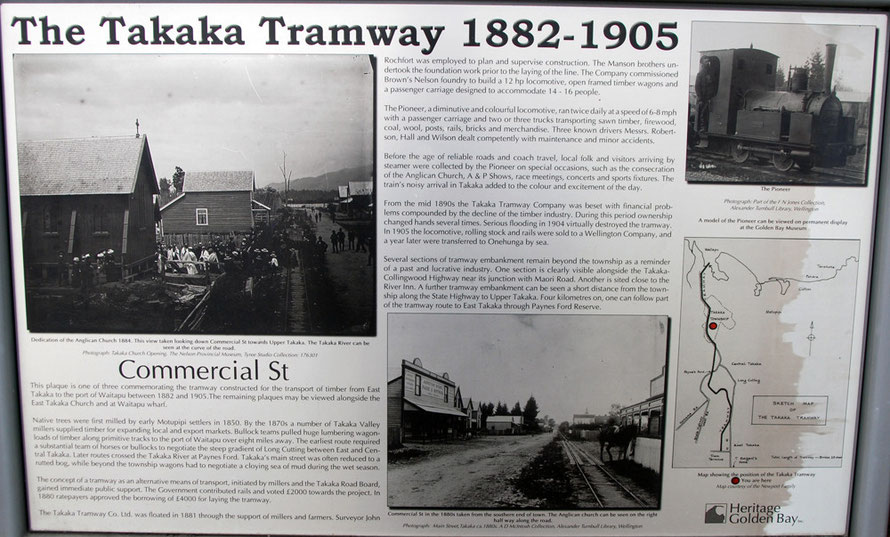Takaka Tramway signage, Commercial Street, Takaka.