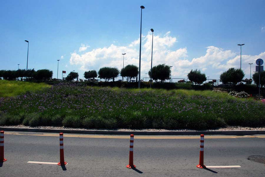 Approach to Larnaca airport from car hire drop-off