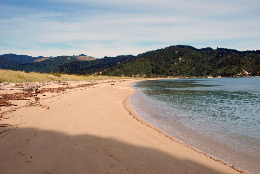 The sand spit that divides Takapou Bay from Wainui Bay on the Taupo Head walk, Golden Bay.