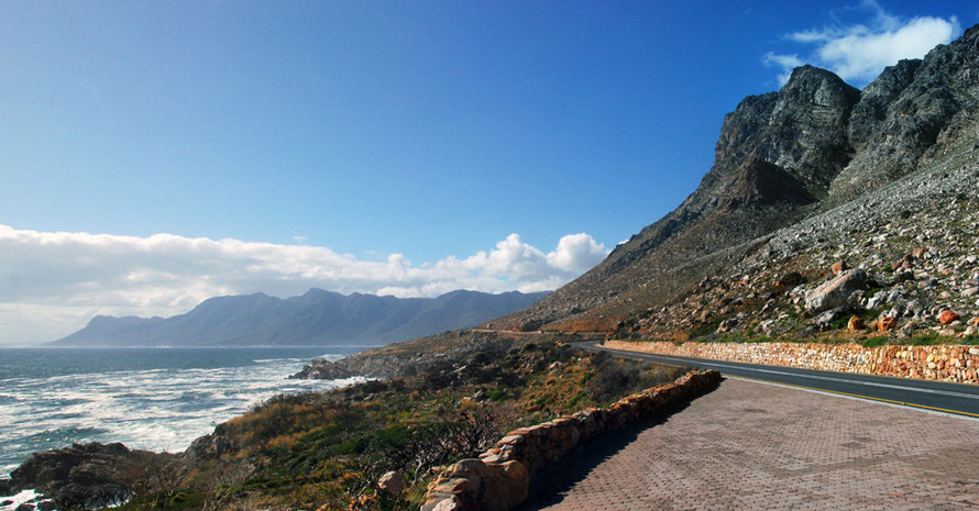 The spectacular road from Betty's Bay to Gordon's Bay along the edge of the Kogelberg Mountains just after the passage of a cold front
