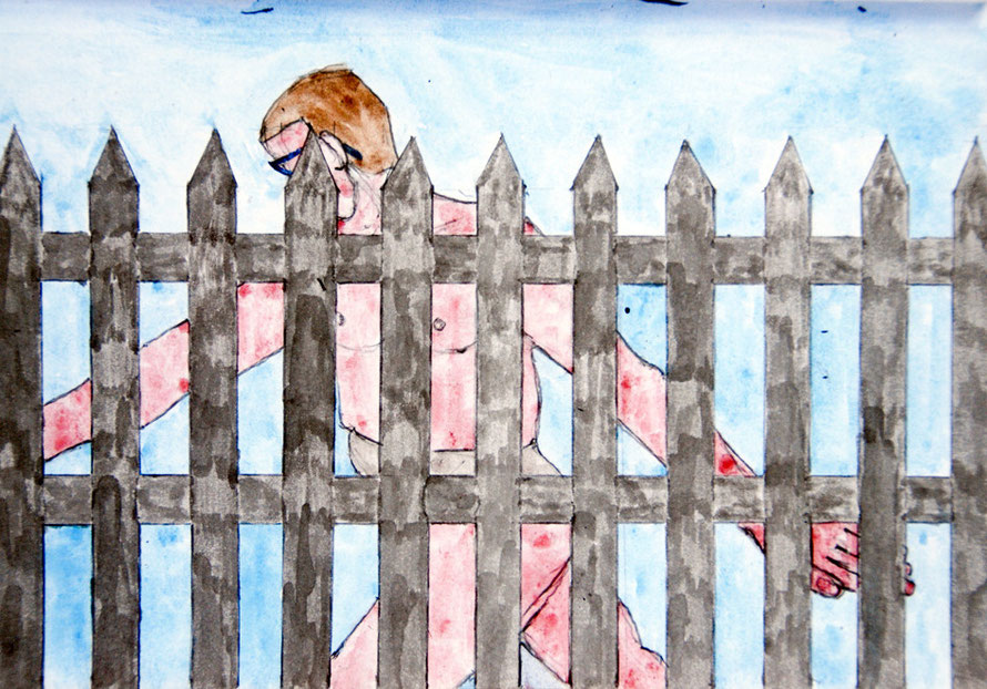 Fenced Man (Gouache and Pencil)