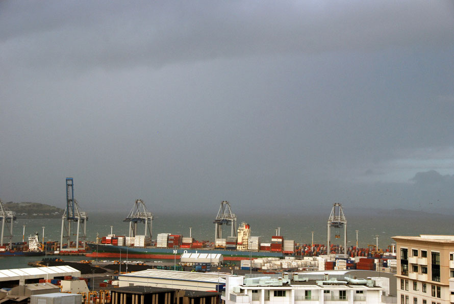Cyclone Lusi closing in on the Auckland Container Terminal.