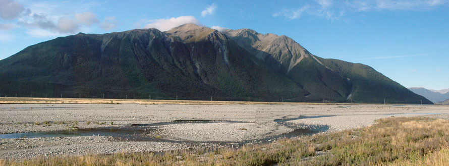 Panorama of the Waimakariri braided river bed and the Polar Range near the Bealey Hotel
