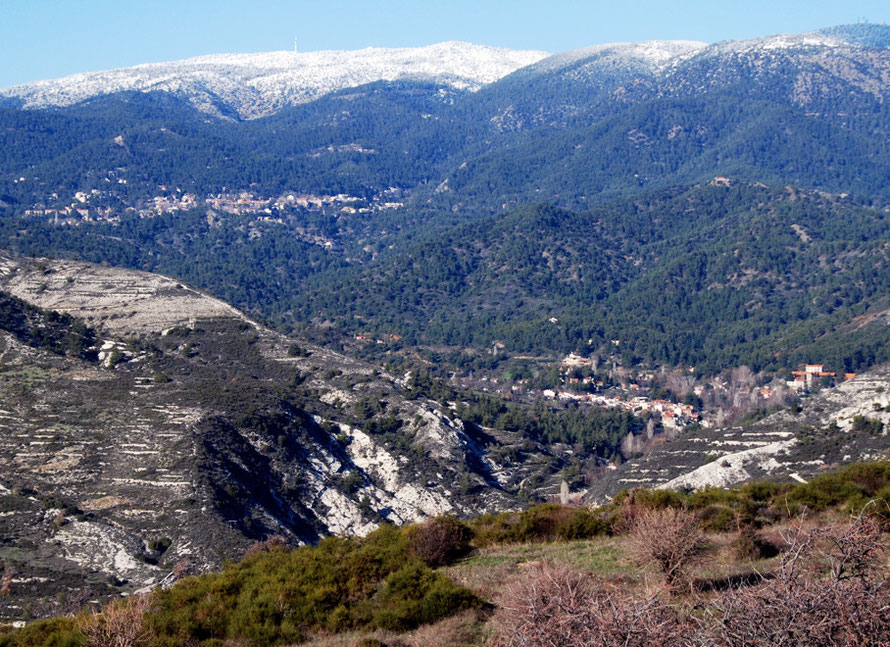 Kato Platres under the High Troodos, Pero Pedi to the right, Janaury 2013.
