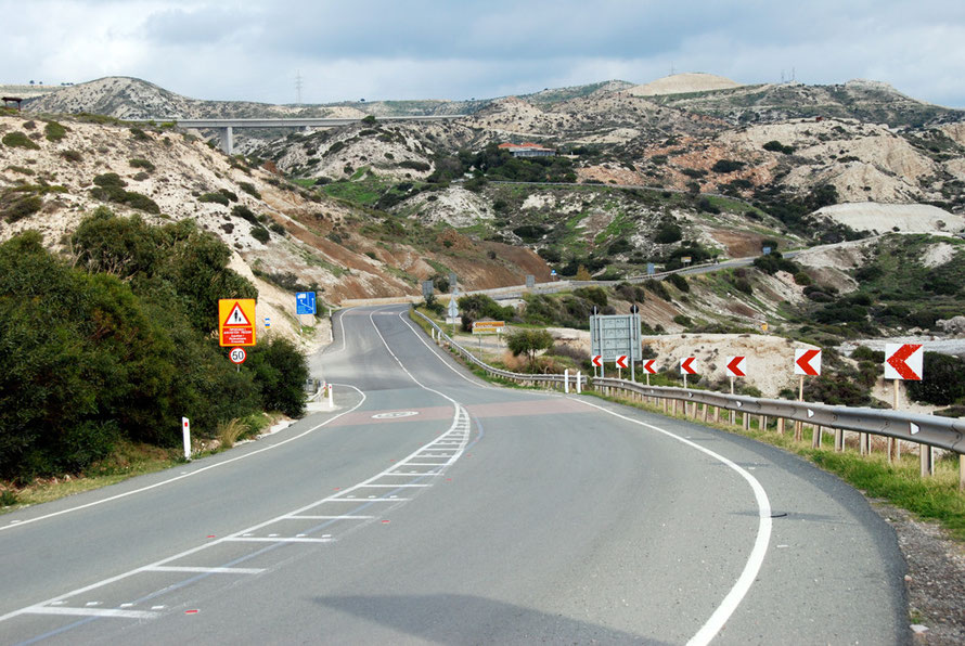 Old and the new: old coast road from Paphos to Limassol and motorway above near Petra tio Romiou.