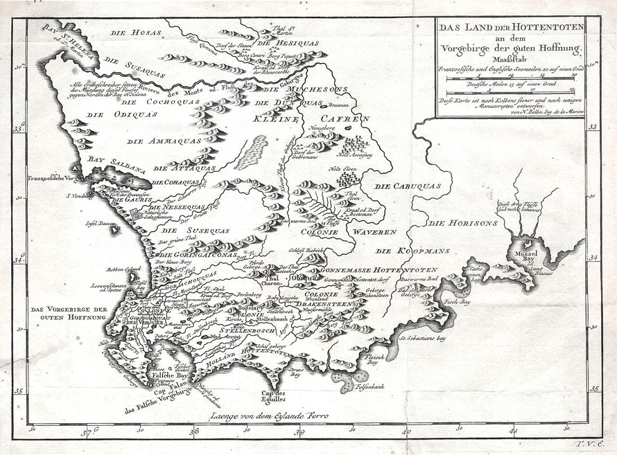 German edition of the 1757 Bellin Map of South Africa and the Cape of Good Hope  (Courtesy Wikimedia)