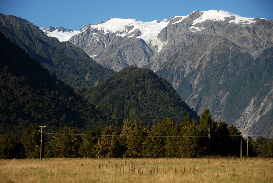 Another view of Mts Roon and Anderegg showing the immense steepness of the valley walls leading up to Franz Josef Glacier