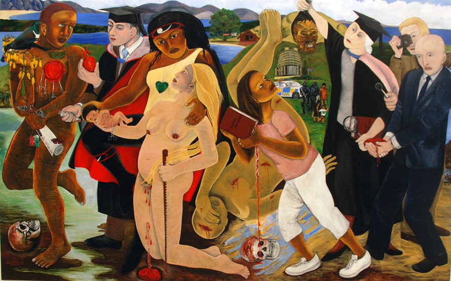 Robyn Kahukiwa (1938-) Power To Define which asks'who has the power to define Maori without an understanding of colonisation and Maori sovereignty (Auckland Gallery: Five Maori Painters 2014)