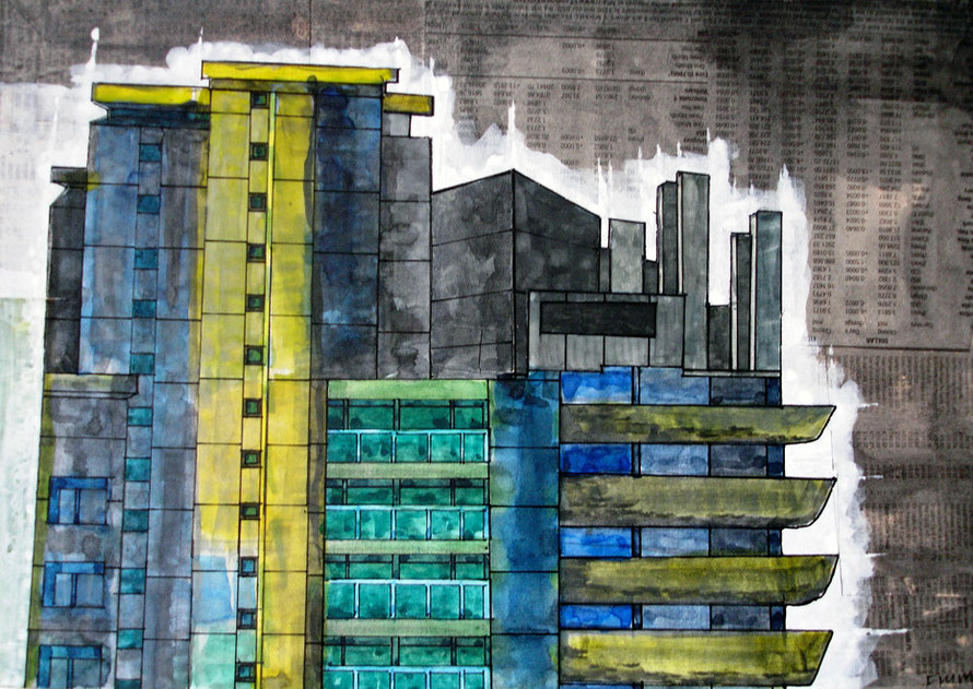 Top of Lauderdale Tower, Barbican 2006 (Watercolour) (21x30) Fergus Murray