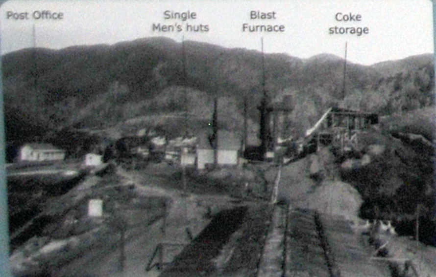 Using local iron ore and coal it was thought Onekaka would become a major steel town. It was not to be. Closed in 1935 and mothballed through the IIWW the furnaces were never fired again (Iron Works s