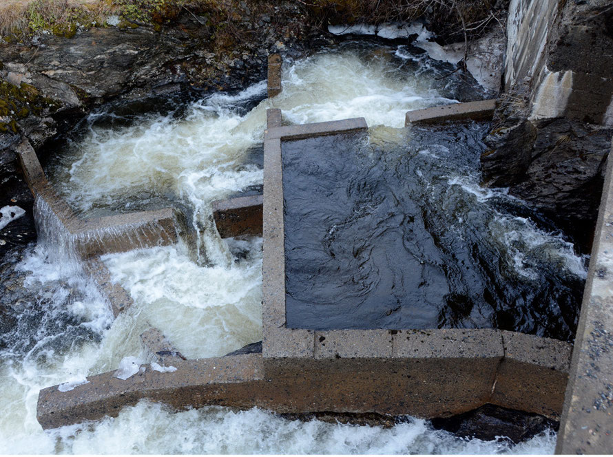 Salmon ladder on the the river at Nordfjordbotn. The river here is entering its meltwater spate.