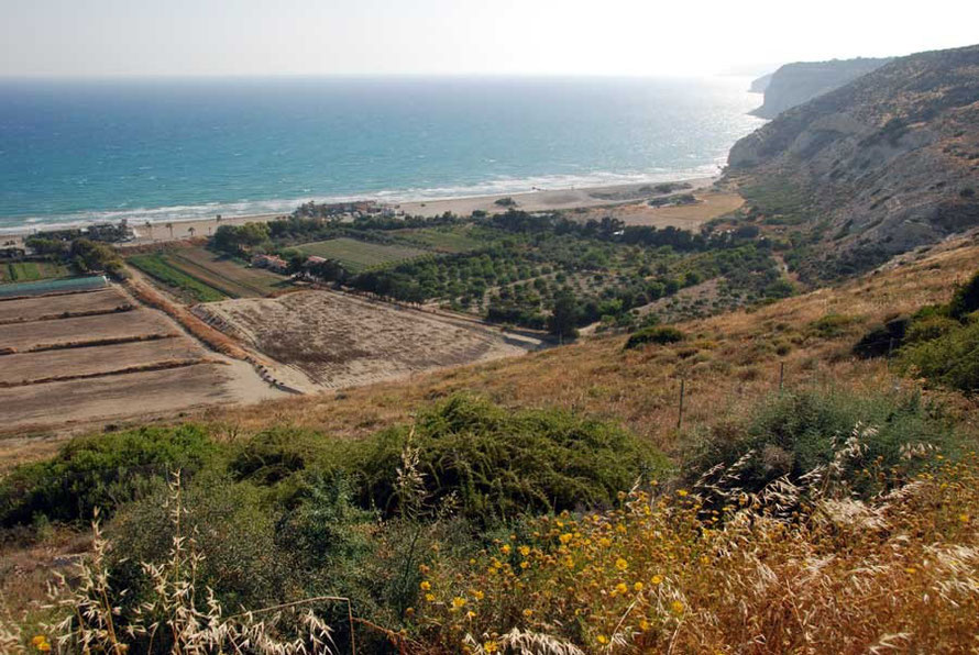 The spectacular setting of the site of Kourion, high on a bluff above coastal shelf and dazzling sea