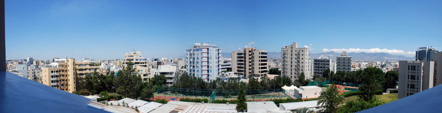 Panorama of modern Nicosia from the Nicosia Hilton, looking north to the Kyrenian Mountains.