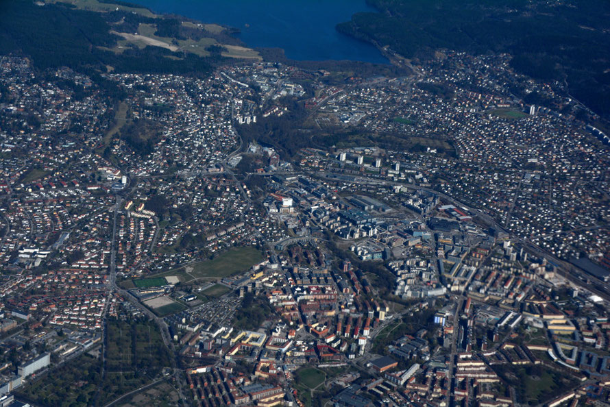 The northern outskirts of Oslo and Maridalsvannet lake.
