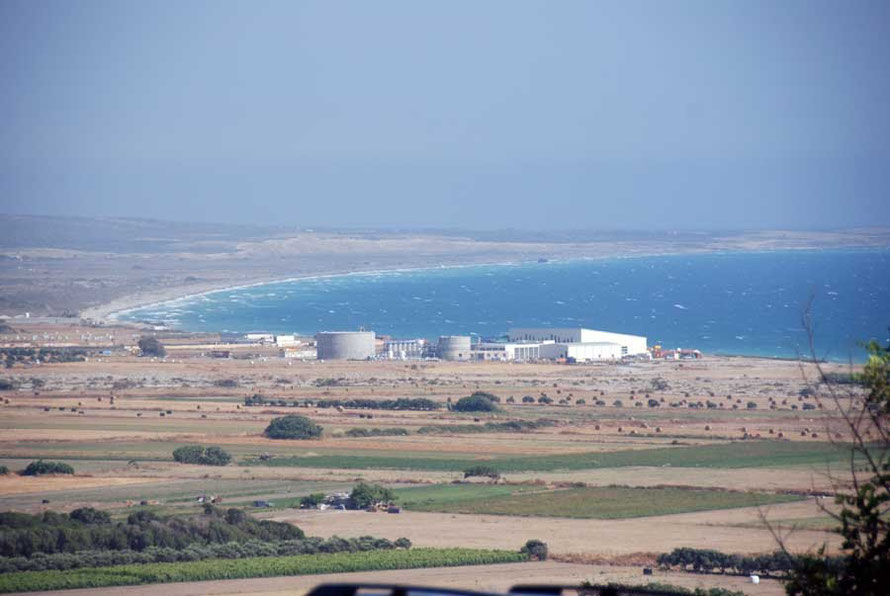 A view from Kourion to the east towards the Akrotiri Sovereign Base Area with recently completed desalination plant (the sixth on the island) in the middle distance
